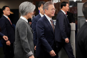 South Korean President Moon Jae-in arrives at United Nations headquarters for the 73rd United Nations General Assembly in New York