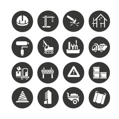 construction icons set in circle button style