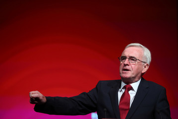 Britain's shadow Chancellor of the Exchequer John McDonnell delivers his keynote speech at the annual Labour Party Conference in Liverpool
