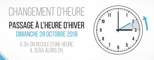 changement d'heure - passage à l'heure d'hiver - 28 octobre 2018