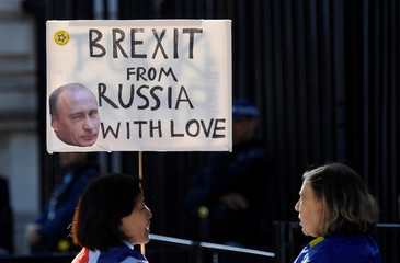 An anti-Brexit demonstrator holds a placard outside Downing Street in London