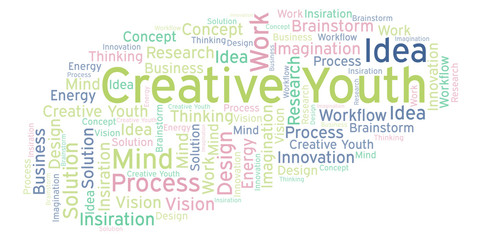 Creative Youth word cloud, made with text only.