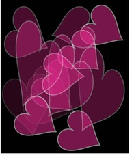 pink overlapping transparent hearts on a black background