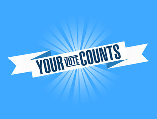 Your vote counts bright ribbon message