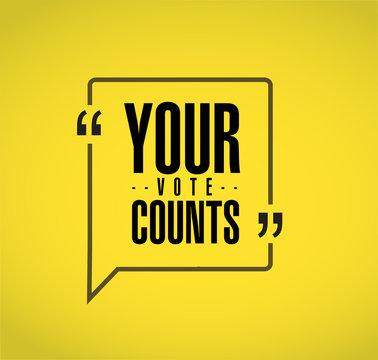 Your vote counts line quote message concept