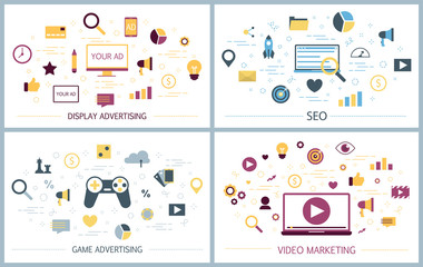 Different types of product advertising concept set