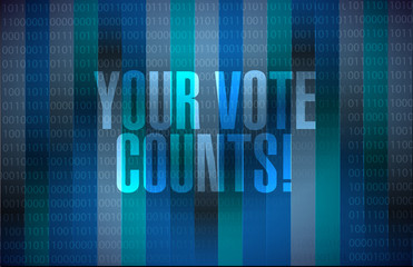 Your vote counts message sign illustration