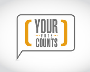 Your vote counts message bubble