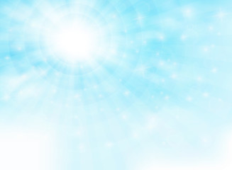 Summer of sun shine with glitters on blue sky with clouds pattern background