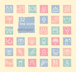 Linear birthday icons set on spots drawn with crayons