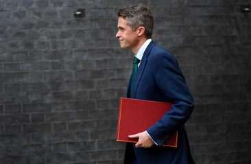 Britain's Decretary of State for Defence Gavin Williamson arrives in Downing Street, London