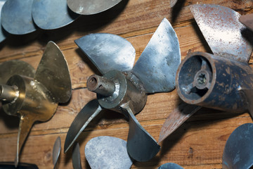 Set of boat propellers.