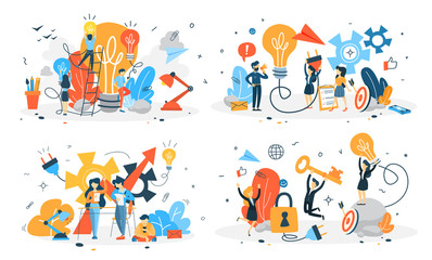 Business people work in team and brainstorm set