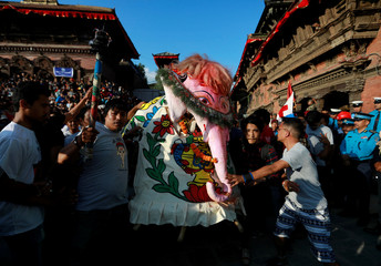 "The elephant deity ""Pulukishi"" is paraded during the Indra Jatra Festival in Kathmandu"