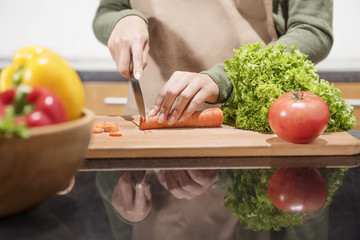 Close up view of woman hand cutting vegetables with knife