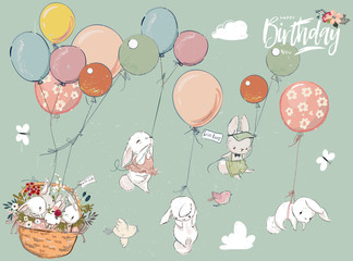 Wall Mural - Little hares collection with balloon