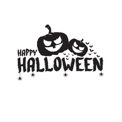Happy Halloween text Banner or label. Vector halloween calligraphic text label with scary pumpkin isolated on white