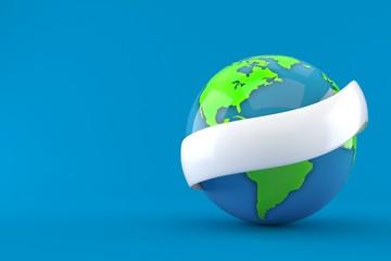 World globe with blank ribbon