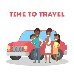 Time to travel with family. Happy parents and children