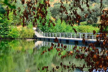 Bridge over the river Bullaque de las Tablas de la Yedra in Piedrabuena, Ciudad Real, Spain.