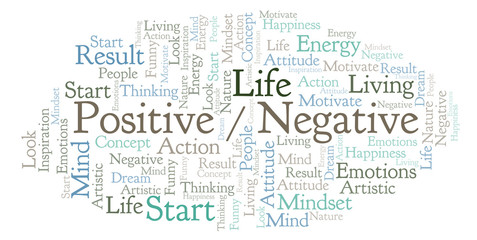 Positive _ Negative word cloud, made with text only.