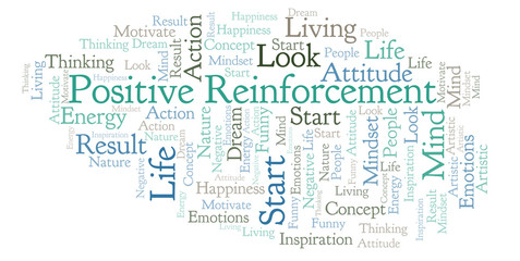 Positive Reinforcement word cloud, made with text only.