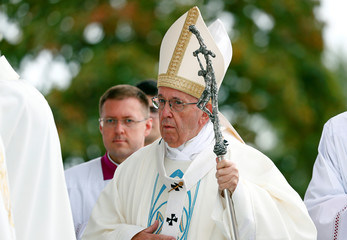 Pope Francis attends the Holy Mass at Aglona Basilica in Aglona