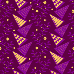 Seamless holiday pattern with Christmas decorations from snowflake, spruces and twigs. Vector illustration for season greeting cards, posters,wrapping paper.