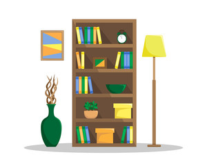 Flat illustration of a cozy bookcase with books, clock, plants and boxes. The floor lamp and the vase with driftwood..