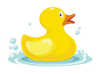 rubber yellow duck. bath children toy in water