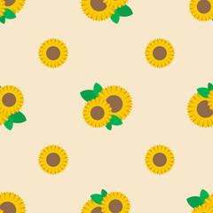 Sunflower seamless pattern background - Vector