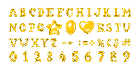 Set of golden number and letter balloons