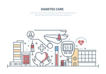 Diabetes care. Diabetes test, treatment, medical research, healthcare, prevention, lifestyle.