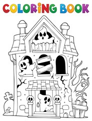 Coloring book haunted house with ghosts