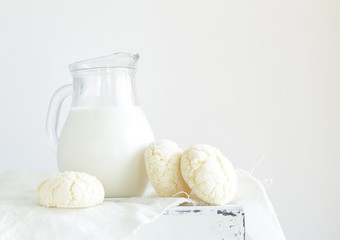 biscuits cookies with milk, white still life