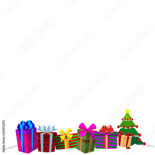 colourful gift boxes on white snow christmas or new year border frame background
