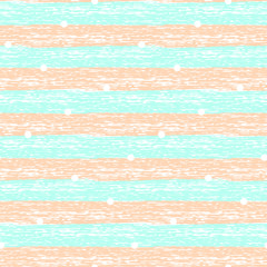 Tender abstract seamless pattern with blue and pink grunge horizontal lines and white circles. Trendy striped background for textile, wrapping paper, cover, surface, wallpaper