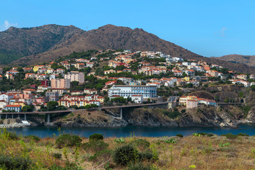 South of France. Mediterranean sea landscape. Small town at the