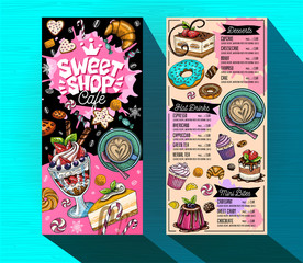 Sweet shop cafe menu template. Colorful logo design label, emblem. Lettering, sweets, pastry, croissant, candy, cookie colorful, splash, coffee, doodle, yummy. Hand drawn vector