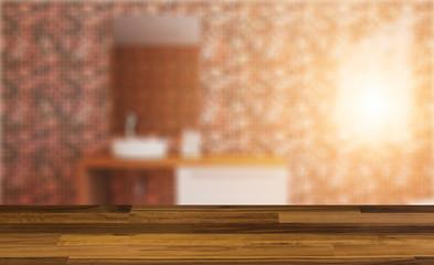 blank wooden table. Flooring. Freestanding bath with towels in grey modern bathroom. 3D rendering.. Sunset.