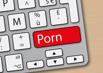 Clavier d'ordinateur avec une touche sur laquelle est inscrit le mot porn.