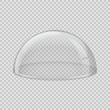 Transparent glass cover. Vector hemisphere isolated on transparent background.