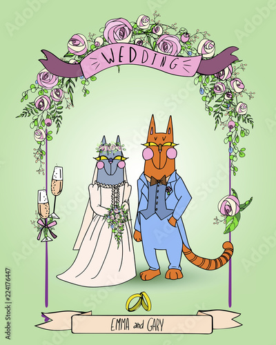 Cute Couple Of Cats Wedding Invitation Card With Pink Roses Bride