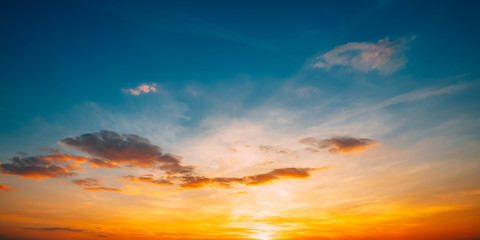 Sunset Sunrise Sky Background. Bright Dramatic Sky In Yellow, Or