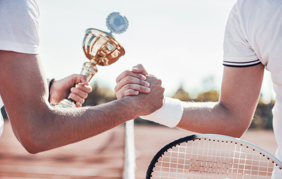 Tennis champion. Tennis players shake hands after the match. Sport, recreation concept