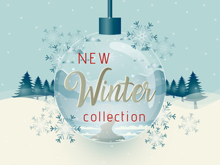 Vector illustration of winter sale poster template.