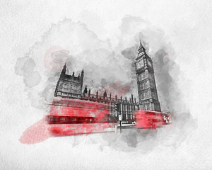 Wall Mural - Watercolor painting of red bus in London, the UK.