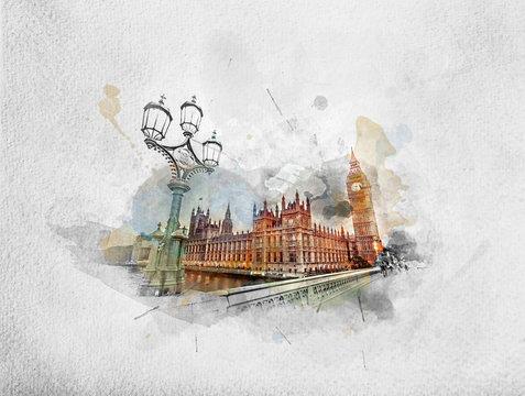 Watercolor painting of Big Ben, London the UK
