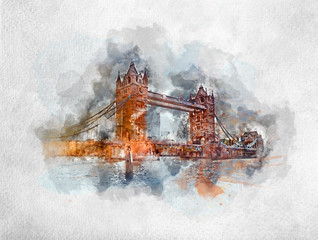 Fotomurales - Watercolor painting of Tower Bridge in London
