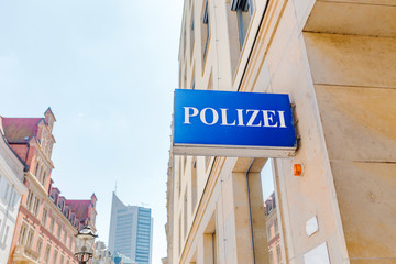Police station sign in Germany
